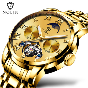 NOBJN hotselling wrist mechanical fashion watch waterproof stainless steel casual automatic men wristwatches