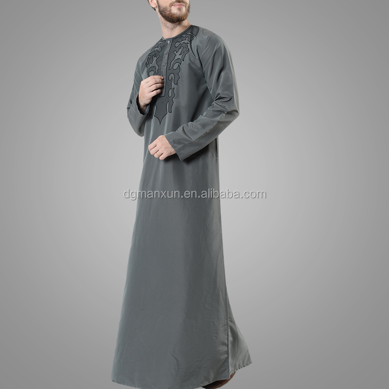 High Quality Modern Design Polyester Embroidered Men's Thobe Fashion Jubba Islamic Men Clothing
