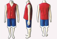 2014 New arrivel Hot cheapest Wholesale In stock One Piece Costume Monkey D Luffy Cosplay Costume for party
