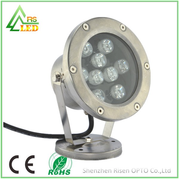 Silver stainless steel iP67 DC 12 volt 9W underwater boat led light