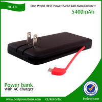 HC-C8 power bank with wall charger plug and micro usb cable for mobile phone charge