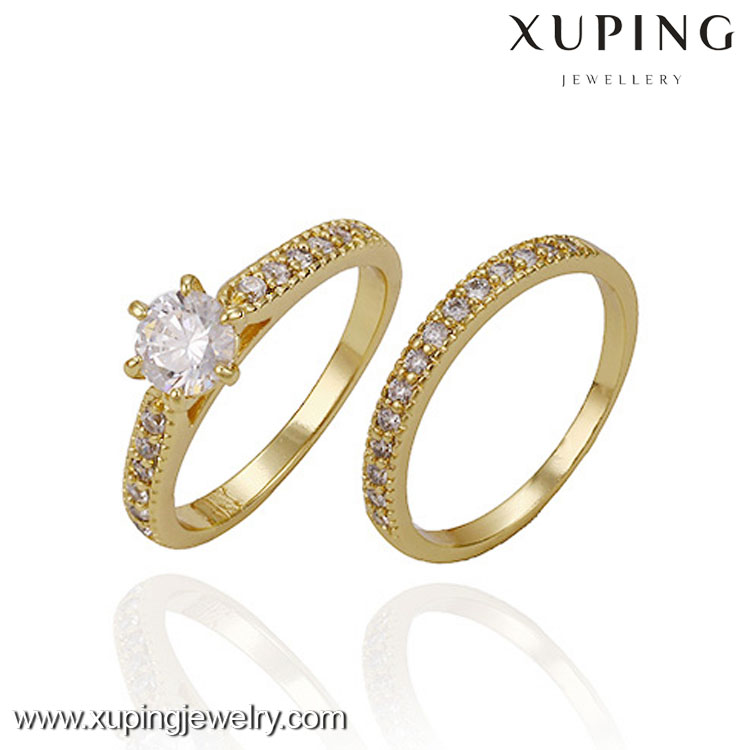 13436-xuping newest latest gold simple diamond newest design couple rings
