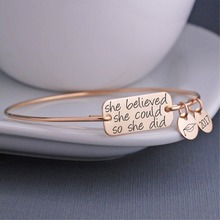 2017 Stainless Steel Jewelry Message Charm Expandable Wire Bangle Bracelet, in the popular style