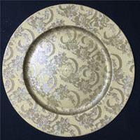 European style golden round plastic charger plates for decoration wedding