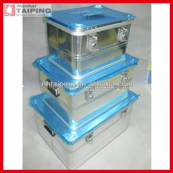 Silver waterproof aluminum storage container/box with lock for transportation