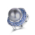 Mytys Fashion Copper Ring With Sapphire Blue Stone Pearl Ring for Men and Women r1899