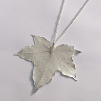 Creative Jewelry Natural Real Gold Bodhi Ginkgo Maple Leaf Necklace