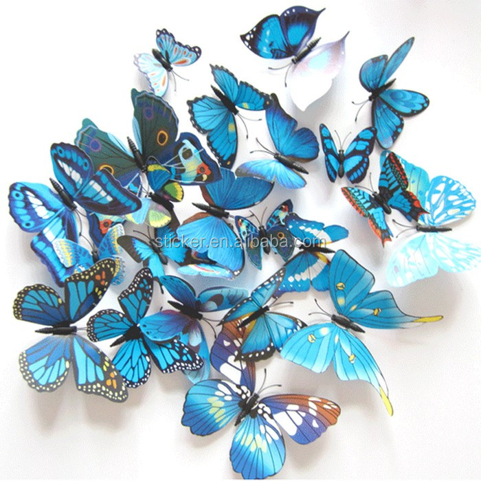 12pcs Art Decal Room Magnet Wall Stickers Decorations Home Decor 3D Butterfly Sticker