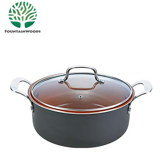 China 10inch cast alumiunm hot pot casserole with stainless steel handle