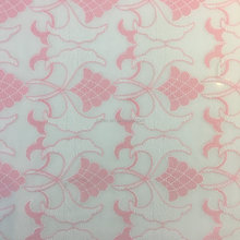 swiss style Embroidered chiffon fabric in pink/white color for dress and curtain