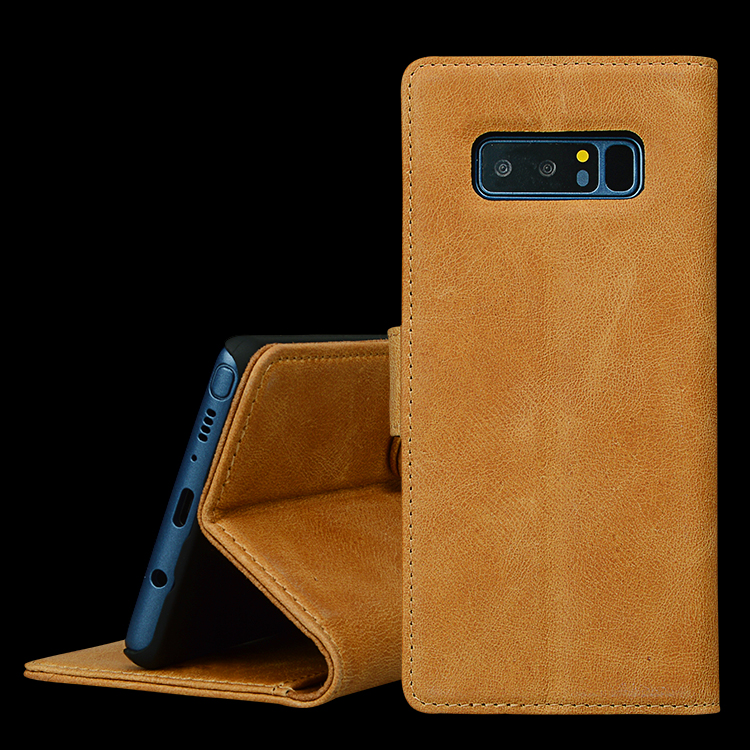 Real Leather Cell Phone Case for Samsung Note 8 Case Leather Wallet Case with card slots