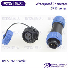 SP13 2 Pin to 9 Pin Circular Plug & Socket Connectors IP68 Waterproof Plastic Connector