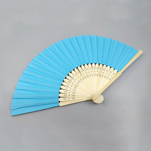 Plain color paper bamboo hand fan with natural bamboo frame