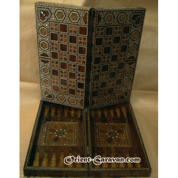 Beautiful Backgammon Mosaic Board with genuine Mother-of-Pearl, traditionally made in Damascus