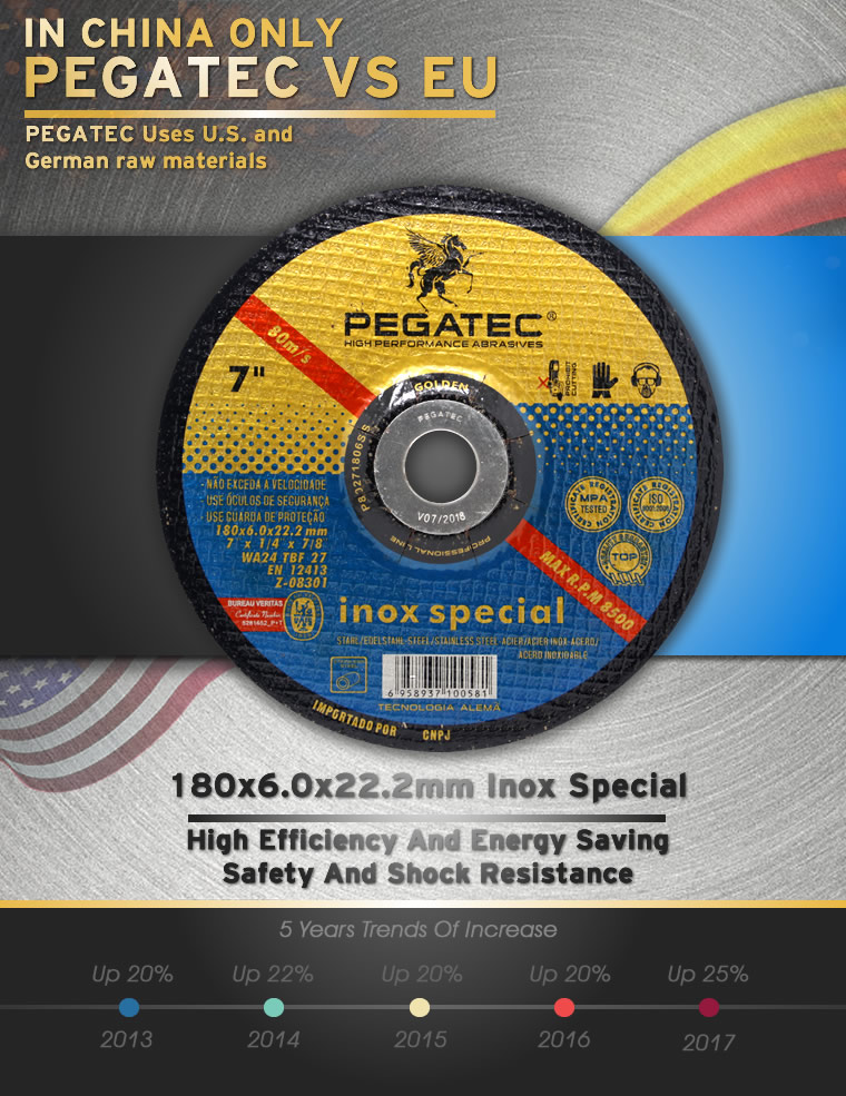 PEGATEC 180x6x22.2mm Stainless Steel Grinding Disc