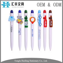 Custom white plastic animal shaped clip topper cute ball pens with cartoon logo for promotion