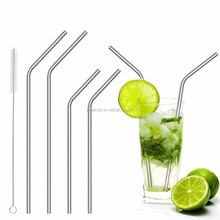4pcs Bending Long Stainless Steel Drinking Straws Metal sucktion tubes fit for 20 Oz & 30 Oz Cups Cleaning Brush Include