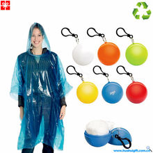 2014 100%ECO Plastic Ball with keychain Clear Disposable Rain Poncho Mac