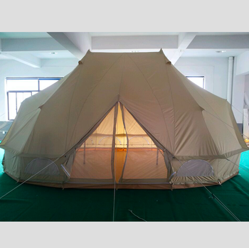 4-Season Waterproof Cotton Canvas Large Family Camp Beige Color Bell Tent Hunting Wall Tent with Stove Holes