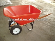 140L two wheel wooden handle plastic tray heavy duty wheelbarrow wh9600