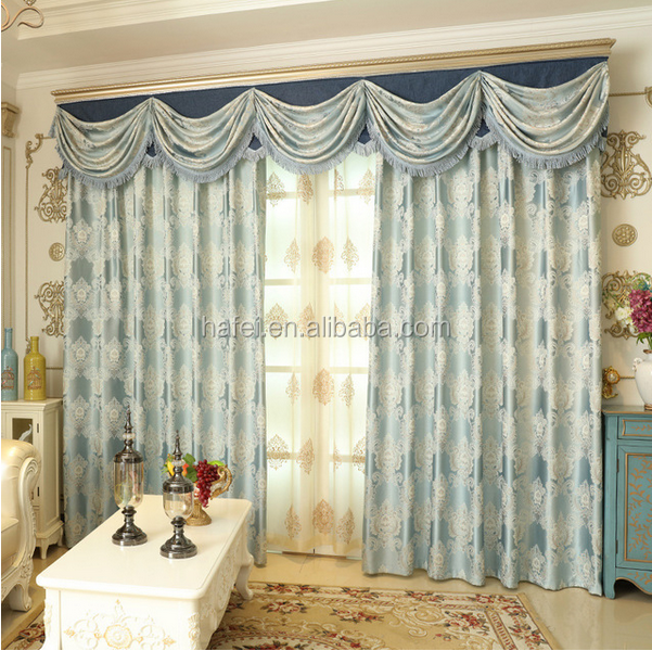 2017 luxury jacquard curtain design European style for fancy living room curtains