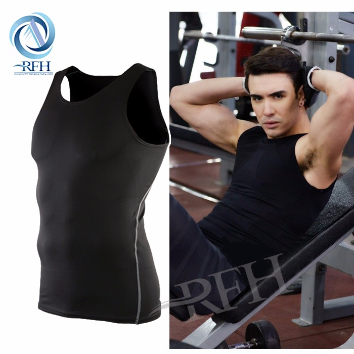 Men Tight Base Layer Blank Crop Workout Vest Tops Wholesale Cheap