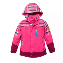2017New wholesale Kids Girl 2 in 1 custom with hood printed Windbreaker reflective Outdoor inner padded down light weight Jacket