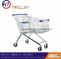 Euro Style Steel Metal Supermarket Walking Shopping Cart with Wheels