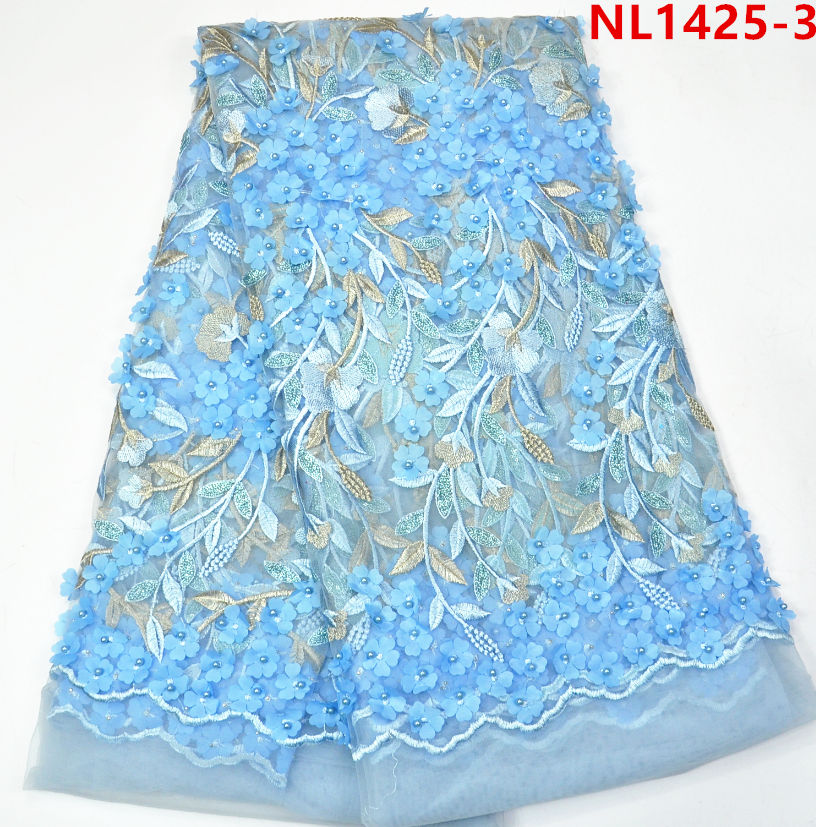 2017 sky blue african lace fabrics tulle beaded lace , Leaf Design sequins french net lace fabric