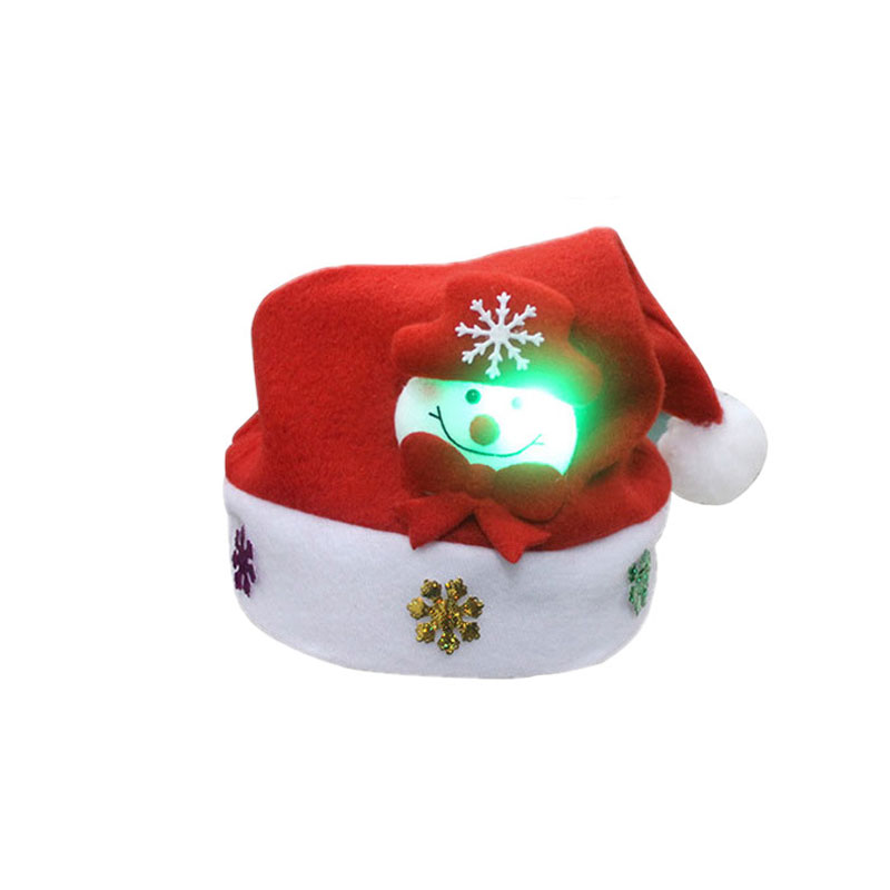 Amazon Best Sellers Santa Claus Reindeer Snowman Xmas Gifts Festival Kids Lighting in Dark LED Christmas Hat With Light