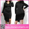 Luxury Wholesale Black Sexy Zipped Knee Length Big Girls Evening Party Plus Size Dress