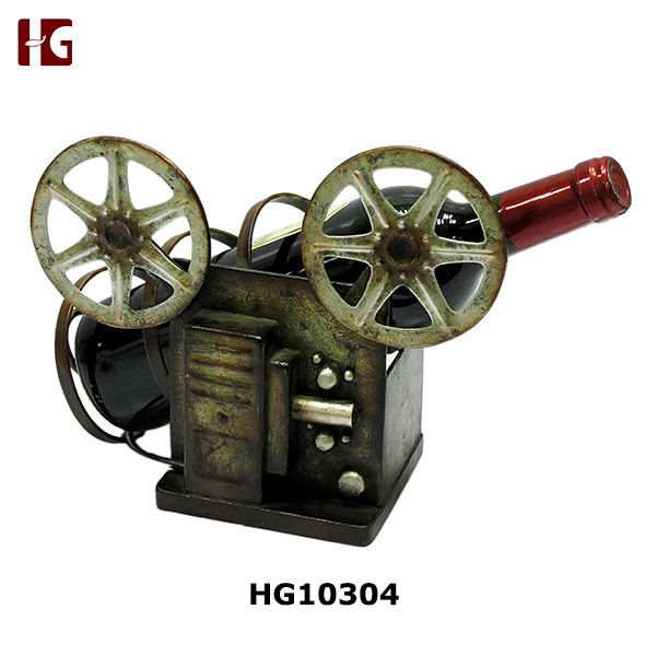 Old Film Style Unique Iron Wine Holder For Single Bottle