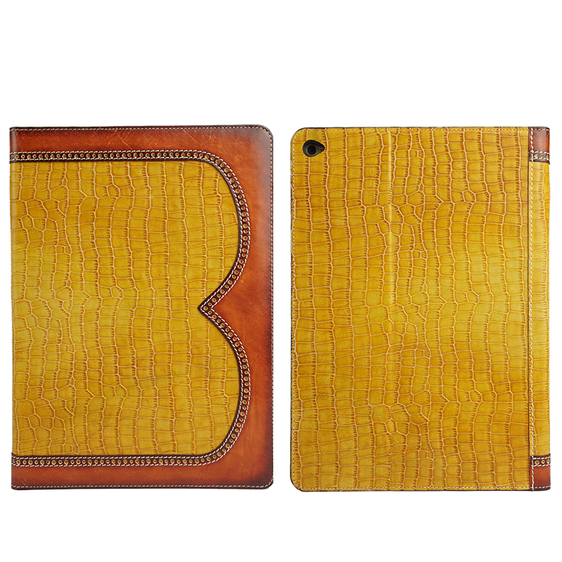 leather colors combination style luxury crocodile grain cow leather cases for Ipad Air/mini...