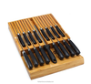 Drawer bamboo steak knife block organizer for 16 knife and 1 sharpening steel
