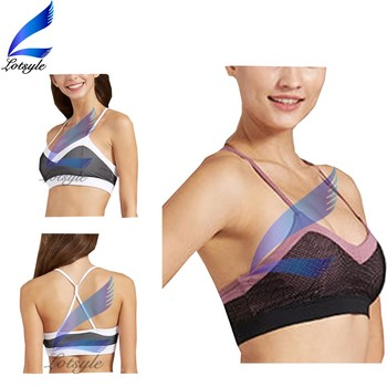 Back Line Cross Hot Sexy Sports Bra with Strap Shoulder Design