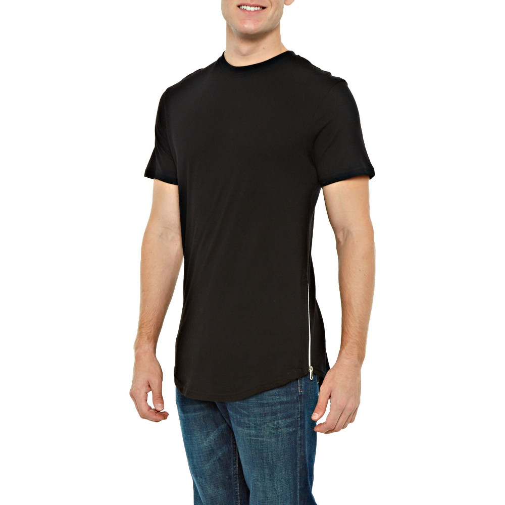 ATS175 Slim Fit T shirt with Side Zippers Tee Shirt Made In China