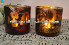 gold czech glassware for candles