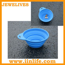 2012 Newest Design environmental protection silicone folding pet bowl dog go out the essential portable pet bowl Blue