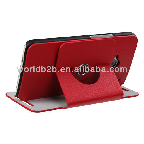 2013 NEW Leather Stand Hard Case Cover for HTC One M7, 360 Rotary