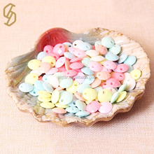 Factory Supply Cheap Flat Round Shaped Bulk Kids DIY Accessories Loose Colorful Plastic Acrylic Beads