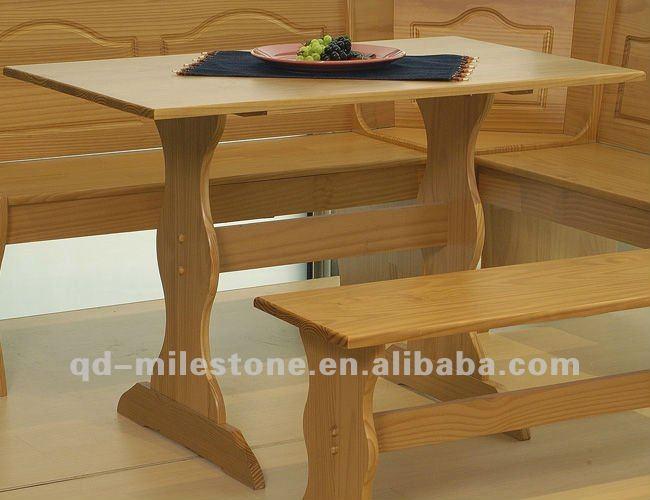 Tres piezas de madera esquina rinc n set mesa de la cocina for Mesas para esquinas