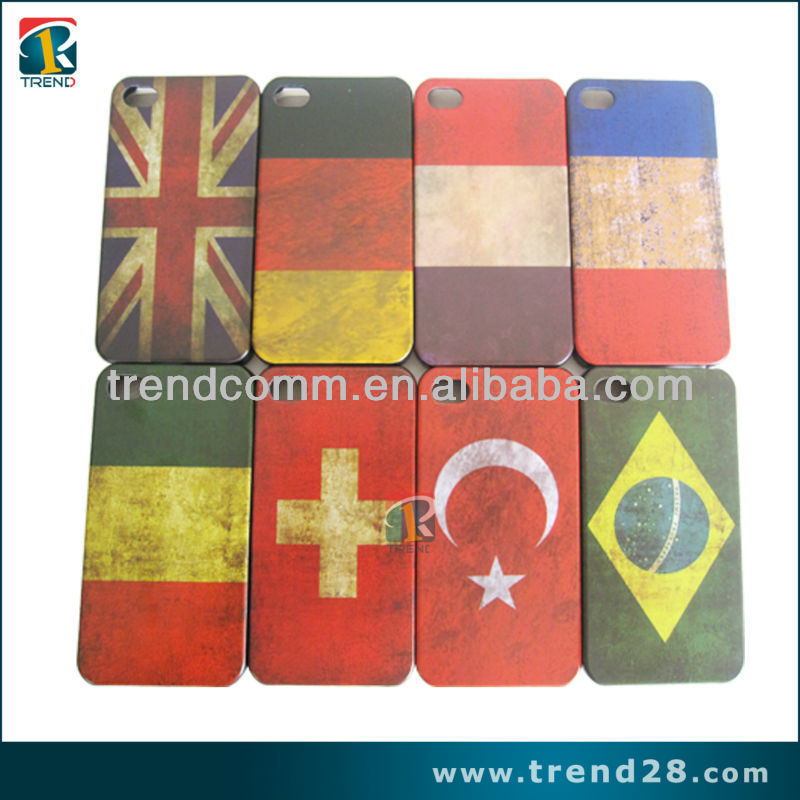 water transfer printing world cup flag plastic case for iphone 4 4s