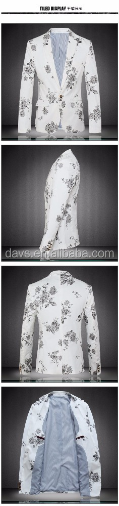 High quality Flower men suit,Latest design cloth,slim business suit