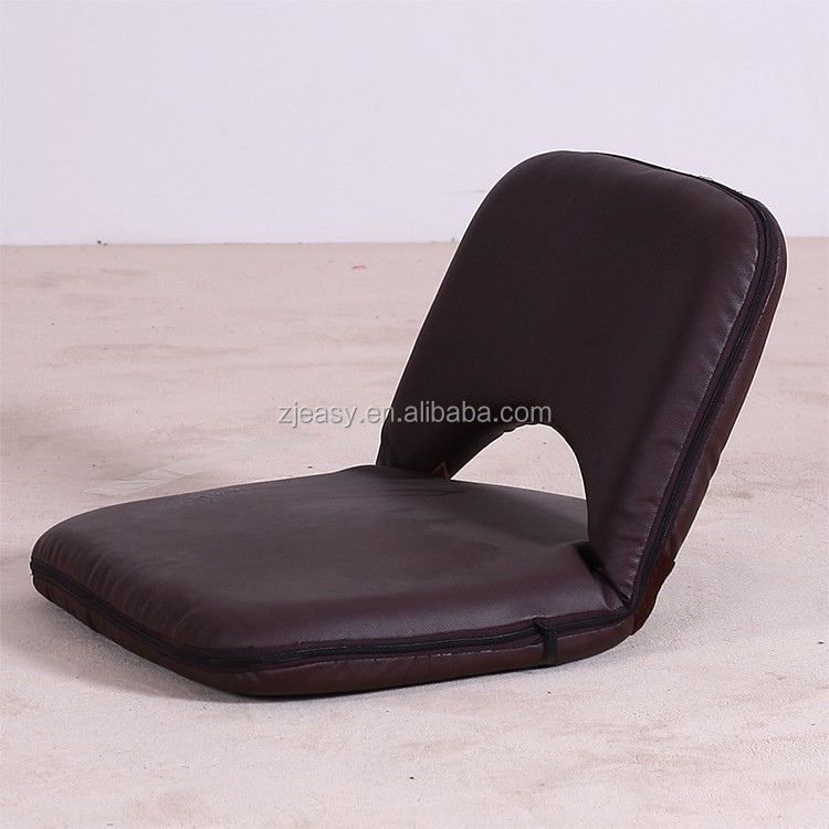 legless portable PU Leather mini floor chair back support