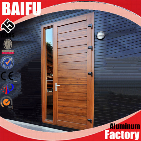 BaiFu Traditional Mahogany Stained Wooden Design Aluminum Front Doors Window Inserts