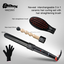 High quality professional 3 in 1 hair curler deep waver with hair straightener brush