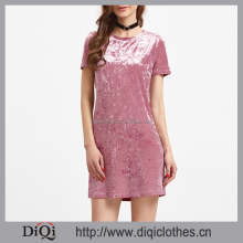 2017 New arrivals stylish casual Spring Pink Round Neck Short Sleeve Velvet Dress for women