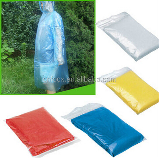 Disposable Plastic Raincoat / Waterproof Hood Poncho / Portable Rain Coat pouch
