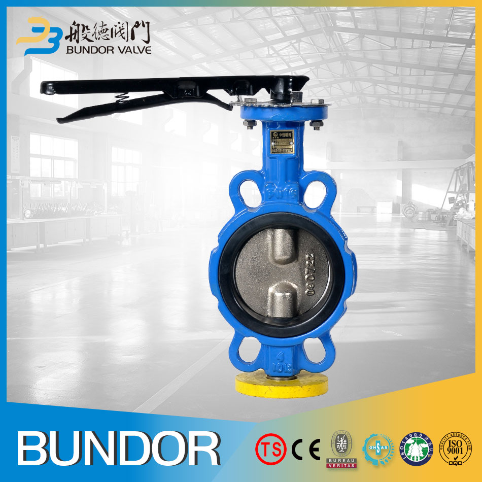 wafer cast iron 8 inch rubber lined auto butterfly valve
