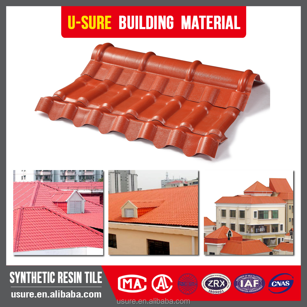 High quality anti-corrosion light weight gazebos asa coated pvc synthetic terracotta color roof tile